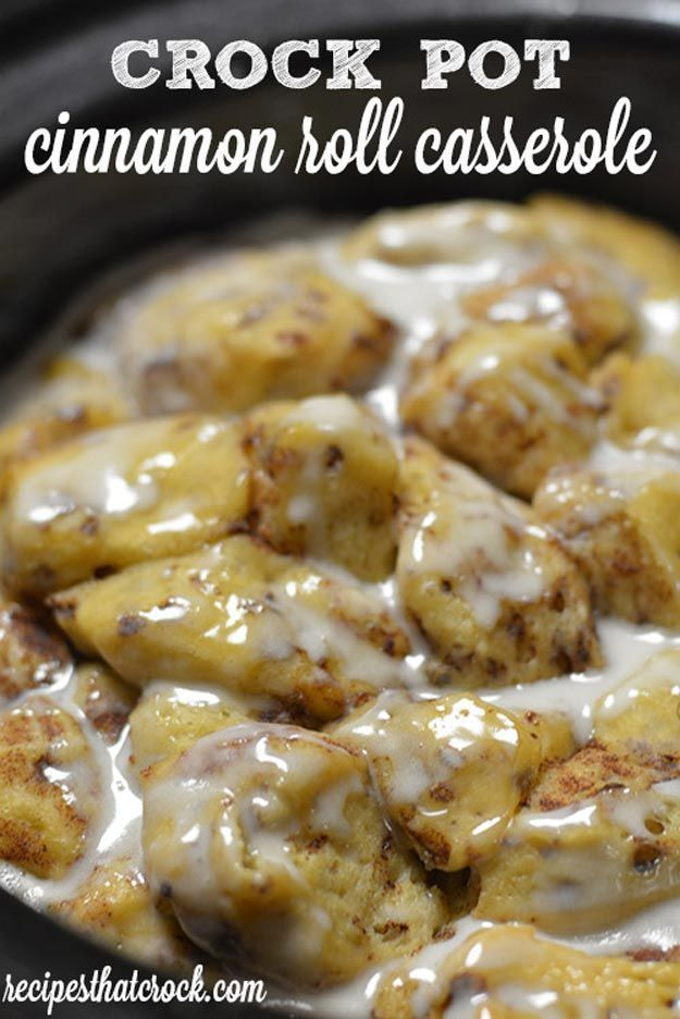Crock Pot Cinnamon Roll Casserole - Easy Slow Cooker Recipes for Thanksgiving | Make Ahead Simple & Delicious Recipes For The Family, Steak, Potatoes, Stew, Mac & Cheese, Pasta, Chili & So Much More! by Pioneer Settler at http://pioneersettler.com/easy-slow-cooker-recipes-thanksgiving/