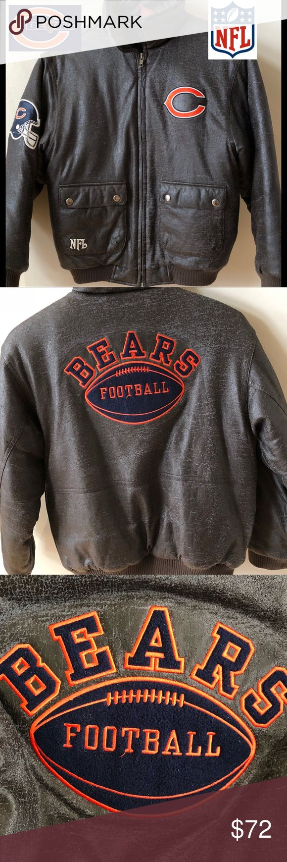 CHICAGO BEARS BOYS BOMBER JACKET🐻🧡💙 VINTAGE CHICAGO BEARS BOYS BOMBER JACKET, ADORABLE for your little guy!!! So warm. Zipper needs repair (see pic) but still zips perfectly. Has been very loved but still has a lot of life in it for those young 💙🧡BEARS FANS🧡💙. (Priced accordingly) Brown faux looking leather w team patches and NFL sewn on sleeve. YOU WILL LOVE THIS GEM!!!!! NFL Other