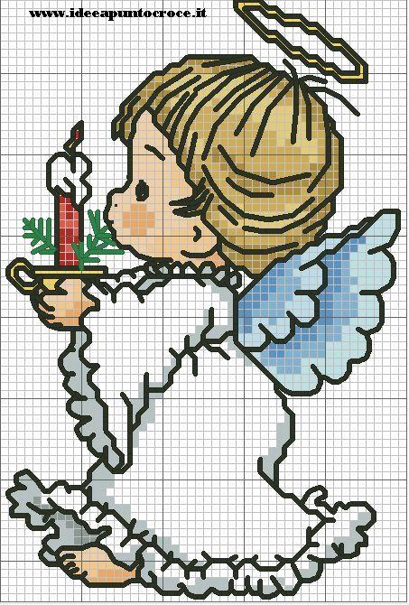 Cross stitch *♥* Point de croix SCHEMA ANGELO NATALIZIO