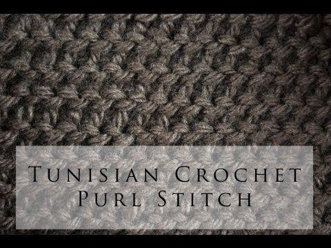 Tunisian Crochet Purl Stitch with video