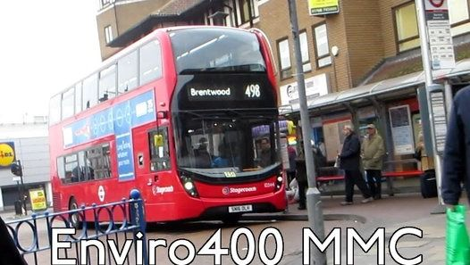 London Buses Route 498 Operated by Stagecoach from Romford North Street (NS) Garage Alexander Dennis Enviro400 MMC 10344 SN16OLH Filmed on 8th December 2016