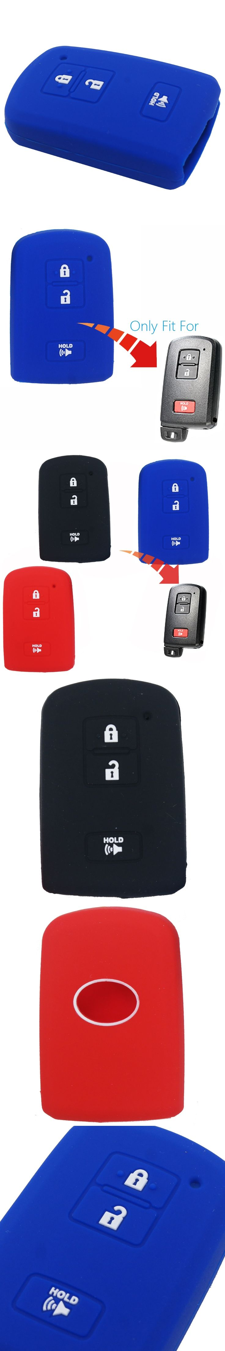 For Toyota Prius C 2012 Camry Avalon RAV4 Corolla 3 buttons Silicone Car Key Case Cover Protector Chain Black Red Blue
