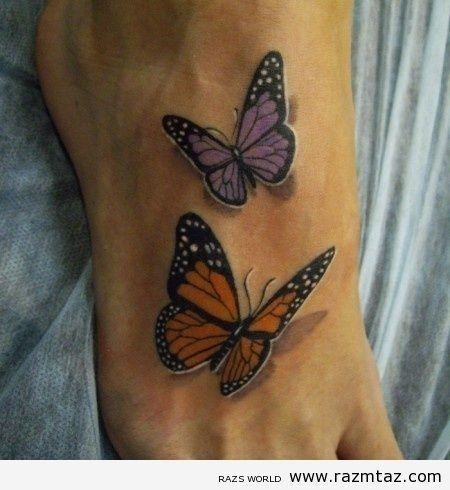 Butterfly Tattoos with Names | 3D Butterfly Tattoos On Foot | Butterfly Tattoo Pictures | Butterfly ...