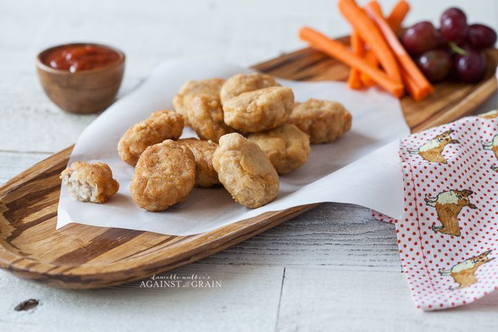 Recipe for homemade gluten free chicken nuggets. These nuggets are also nut-free and grain-free!