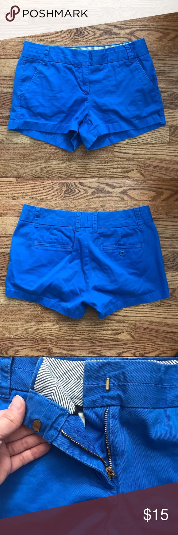 J. Crew Chino Royal Blue Shorts Size 6 Great condition. Worn a couple of summers. Naturally faded a bit. Super comfy! Front and back pockets. 100% cotton. J. Crew Shorts