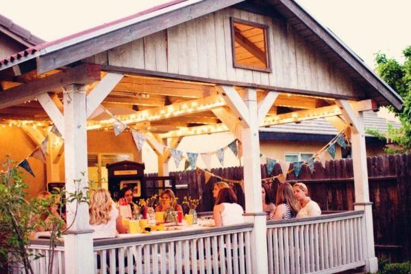 lower deck decor for party: Patios Porches Decks, Deck Ideas, Wood, Covered Decks, Outdoor Spaces, Party Ideas, Design