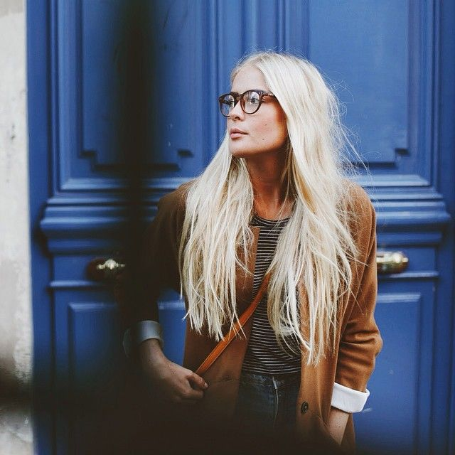 jacket & glasses & blue door & striped shirt & high waist jeans & side strap purse