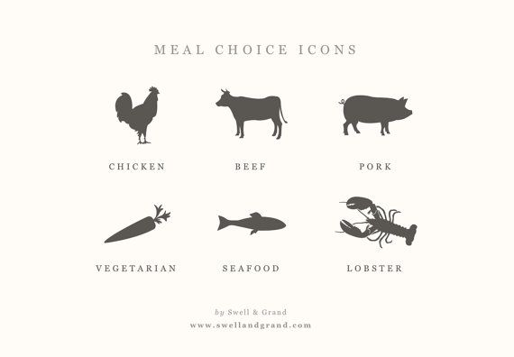 Digital Meal Choice Icons | for Word or Pages | Mac or PC | Chicken, Beef, Pork, Vegetarian, Fish, & Seafood | Color Changeable | Resizable