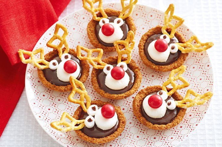 Adults and kids alike will love these festive butternut snap Rudolph chocolate tarts with ALLEN'S JAFFAS for noses.