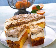 Mandarinen-Torte mit Nussbaiser