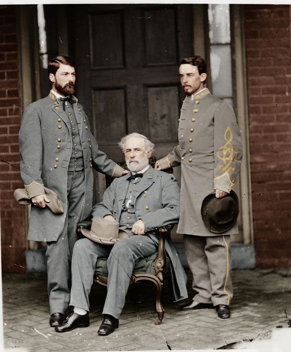 Colorized American Civil War Photo.  Center: General Robert E. Lee