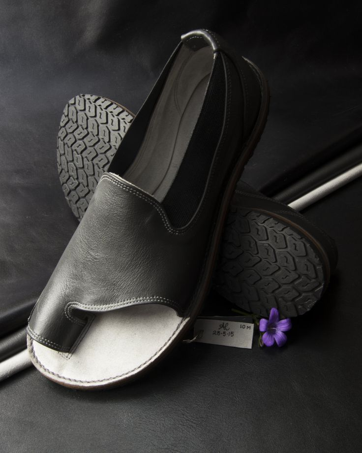 https://flic.kr/p/tTBecV | Charcoal Grey Italian leather Slip-on Shandals fully lined in Dove grey suede Signed & dated 28.5.15 | I made these Shandals for Sarah Anne Helen's Fashion Show at London Fashion Week 2015.
