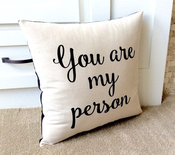 you are my person black and white decorative pillow