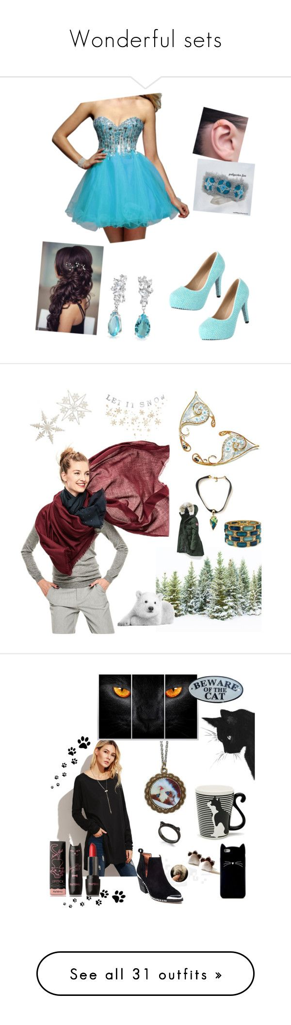 """""""Wonderful sets"""" by frostedfire-kate ❤ liked on Polyvore featuring Clarisse, Bling Jewelry, Canada Goose, Bethany Lowe, Jeffrey Campbell, Miya Company, Kate Spade, Forever 21, MPG and Y-3"""