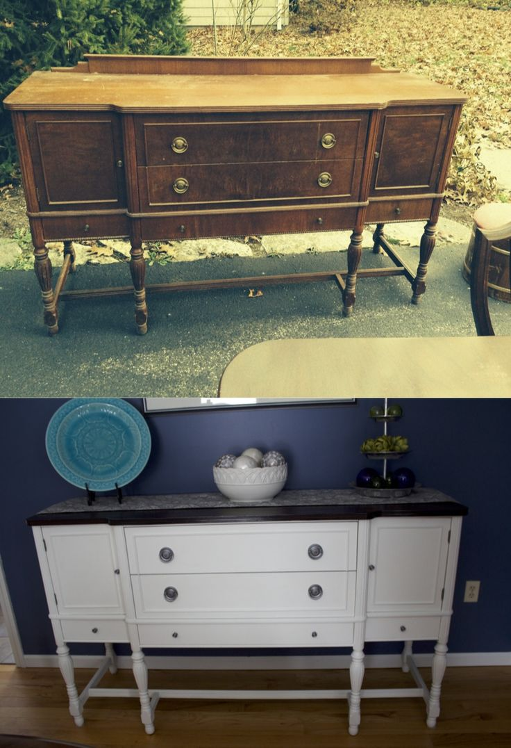 My Before And After Refinished Buffet Table Project. I Am So In Love!