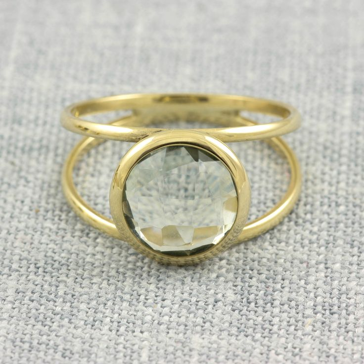 Green Amethyst Double Gold Ring - Kyklos Jewelry Lab