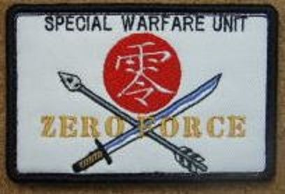 """urvival game team  """"ZERO FORCE"""" original patch  【Standard】 8.5 cm × 5.5 cm black felt / white twill orDO ripstop back side Velcrospecification  【Contents】  Team patch ordered from Zaramanderofsurvival"""