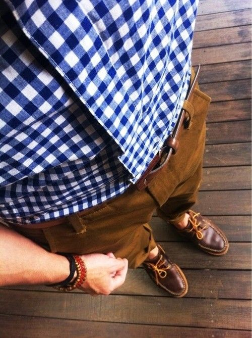 Shop this look for $160:  http://lookastic.com/men/looks/brown-belt-and-brown-boat-shoes-and-tobacco-chinos-and-white-and-blue-longsleeve-shirt/818  — Brown Leather Belt  — Brown Leather Boat Shoes  — Tobacco Chinos  — White and Blue Gingham Longsleeve Shirt