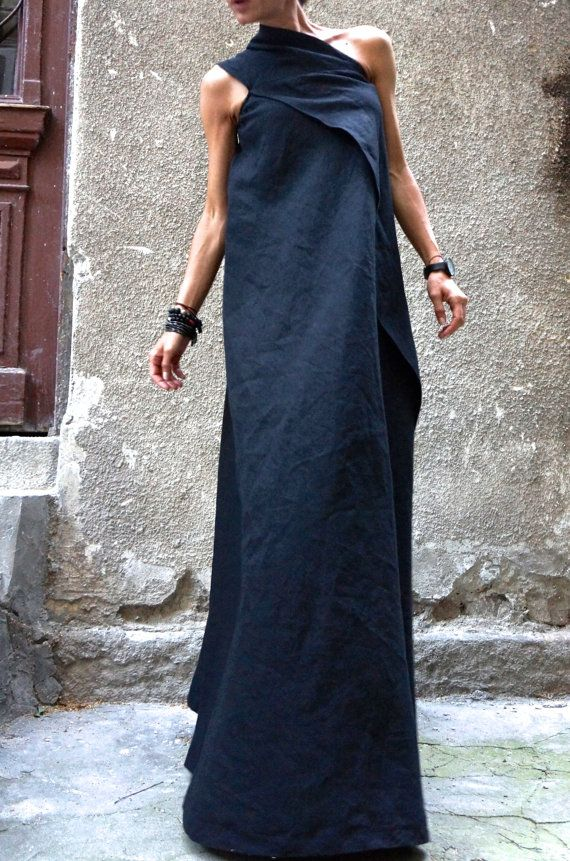 XXLXXXL Maxi Dress / Black Kaftan Linen Dress / One by Aakasha