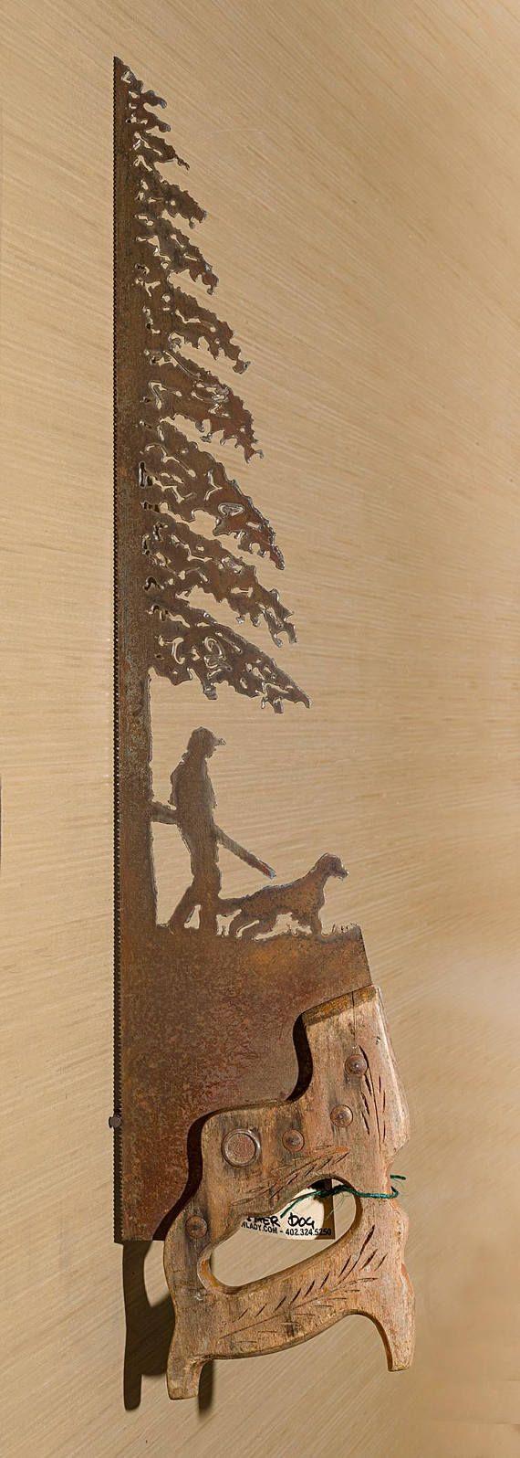 Metal Art Hunter Girl and Her Dog design Hand plasma cut
