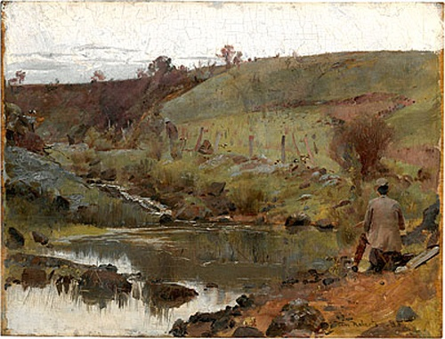 """A Quiet Day on Darebin Creek,"" by Tom Roberts, 1885, oil, 10 1/2 x 13 3/4"