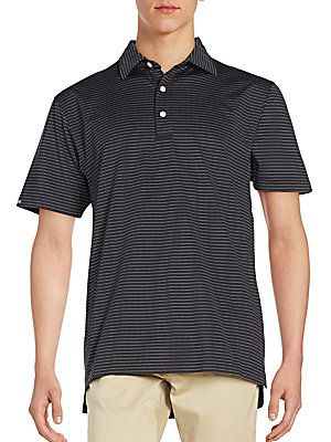 Dunning Golf Striped Jersey Polo - Black - Size