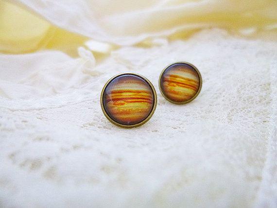 Jupiter Earrings, Jupiter Studs, Solar System Earrings, Jupiter, Planet Jewelry, Universe Jewelry, Planets, Solar System, Astronomy, Science