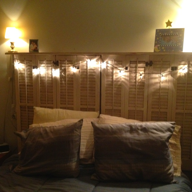 Shutter with shelf headboard and string lights DIY Pinterest