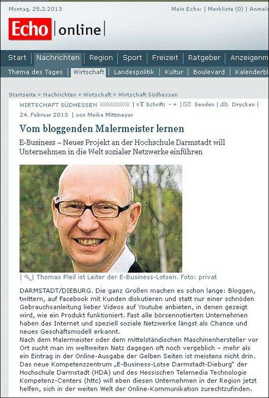 Vom bloggenden Malermeister lernen. Heute erschien in der Darmstädter Online-Zeitung, Echo | online, ein Artikel zu meinem Vortrag, den ich am Mittwoch an der Hochschule Darmstadt halte.