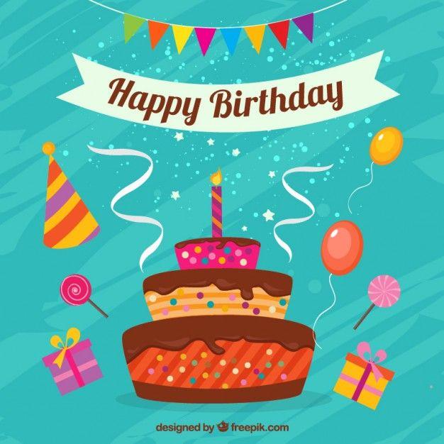 Carte de joyeux anniversaire avec un gâteau Vecteur gratuit