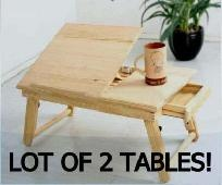 LOT 2 ADJUSTABLE Wooden Portable Laptop Table Notebook