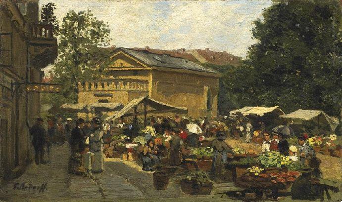 Paul Andorff: Berlin. Markt am Leipziger Platz aus unserer Rubrik: Gemälde des 19. Jahrhunderts