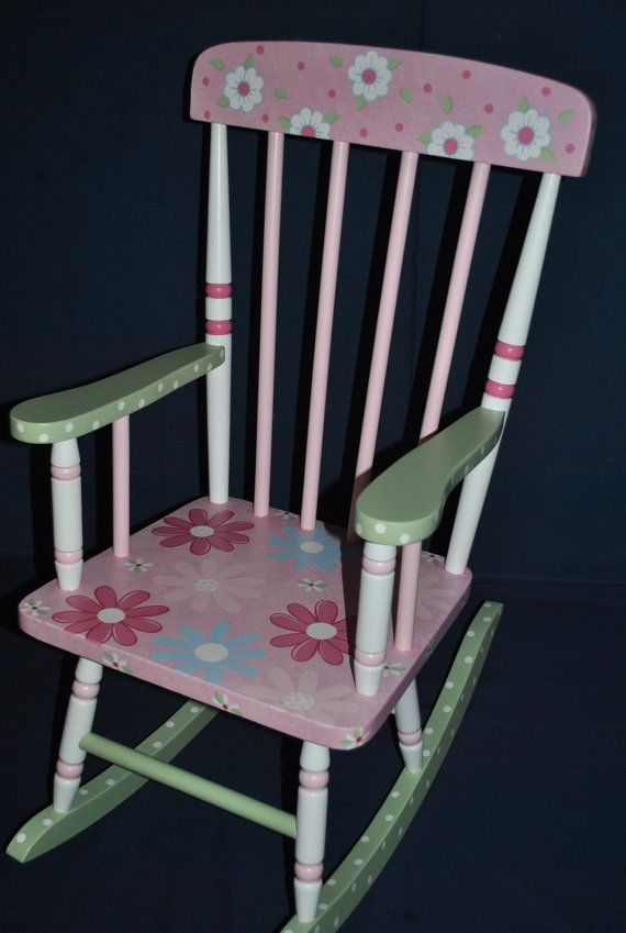 Childrens Rocking Chair Floral  Design Kids Spindle by onmyown14, $175.00