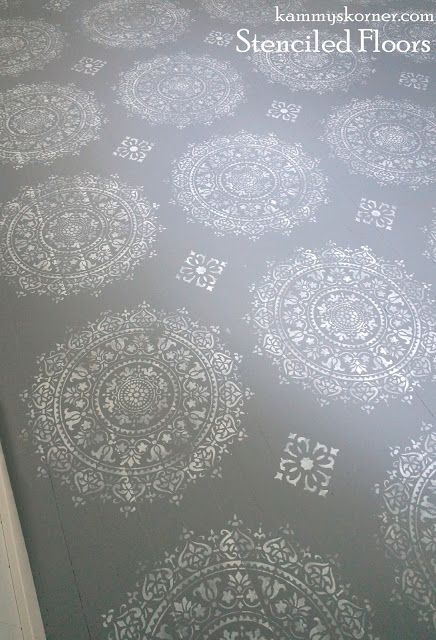 Kammy's Korner: Gorgeous Stenciled Wood Floor In ONE HOUR! gray and white mandala medallion stencil with diamond
