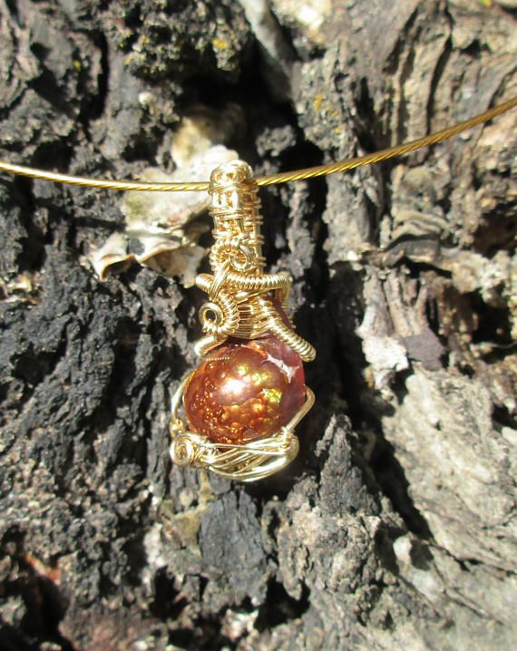 11.5 Carat Mexican Fire Agate Wire Wrapped Pendant in 14 Karat Gold Wire