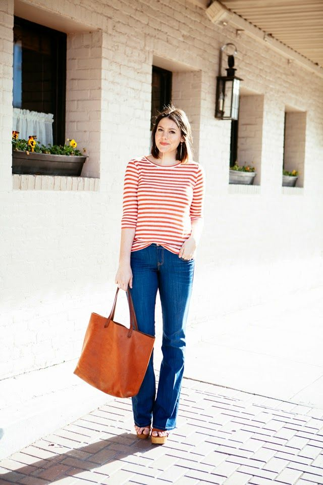 flare jeans + striped tee