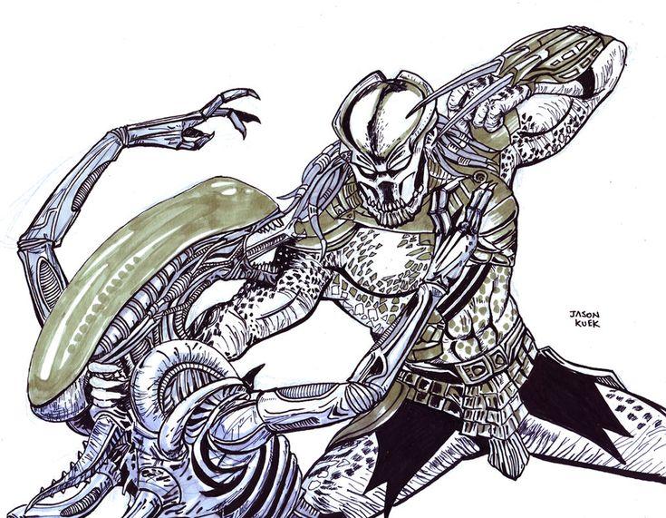 predator vs jason coloring pages - photo#24
