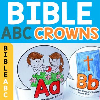 Bible Verse Crowns are a fantastic take home treat for children in your Christian Preschool or Sunday School classroom. We've created Bible Character Scripture Crowns for each of the 26 letters in the alphabet. Each crown includes a Bible character, Alphabet letter