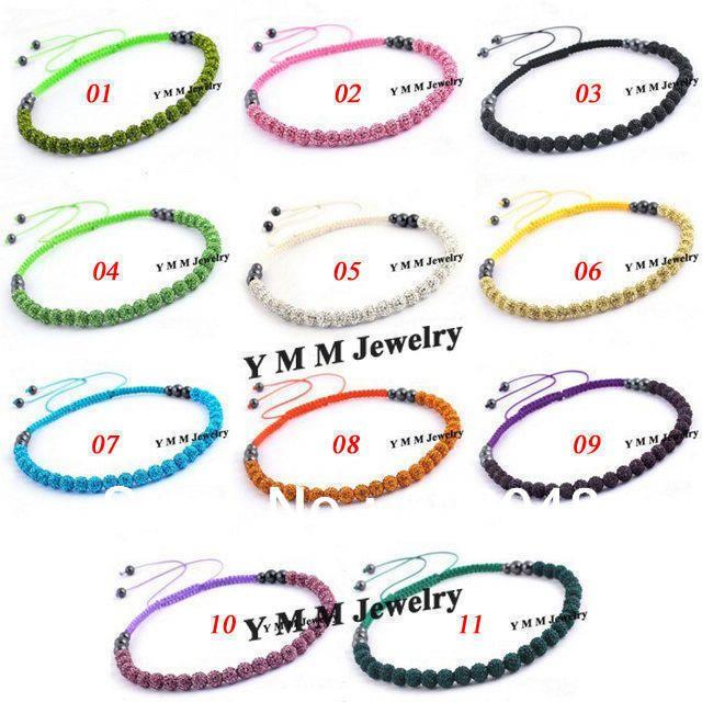 Цветовой гаммы шамбалы ожерелья 6 шт./лот кристалл дискотечный шар из бисера шамбалы чокеры бесплатная доставка