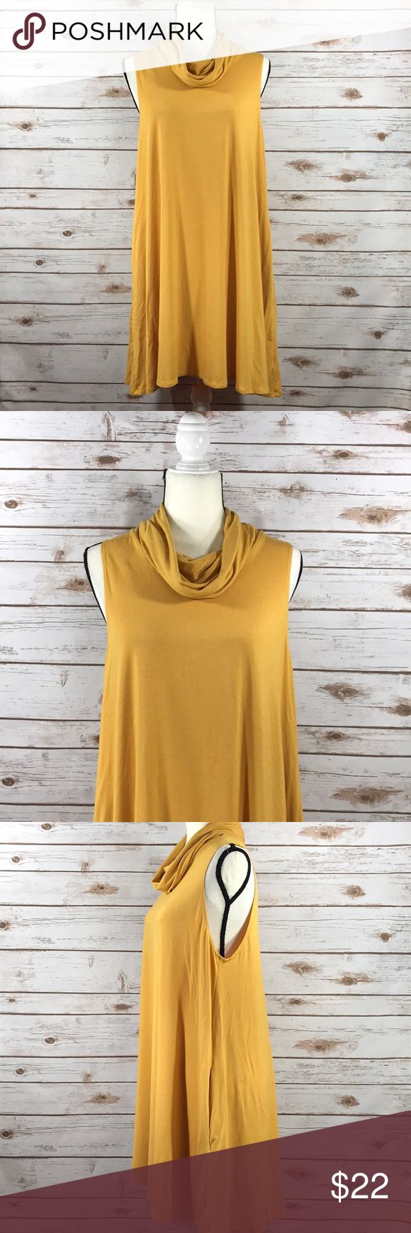 Cowl Neck Mustard Yellow Swing Dress with Pockets This is a size large Socialite Swing Dress with pockets in mustard yellow. This dress is perfect for fall with a jacket and ankle booties. The dress is in excellent used condition. Thanks! Socialite Dresses