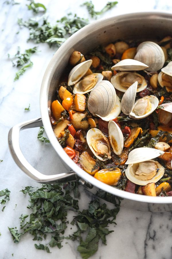 Clams with Chorizo, Tomatoes and Kale | Recipe | Steamed Clams, Clams ...