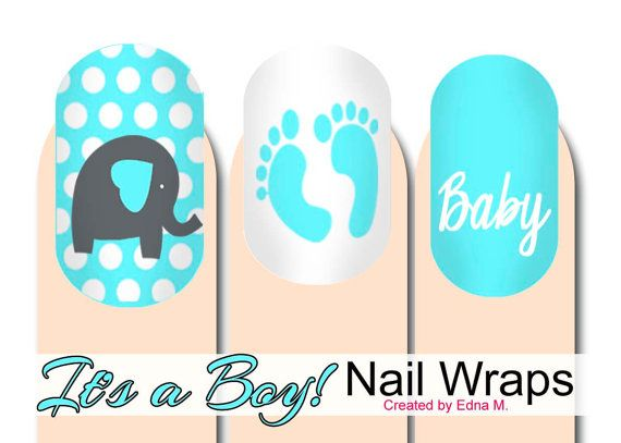 Baby Shower Itu0027s A Boy Nail Wraps Blue And White Baby By MisManos