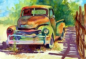"""OLD 50'S GEM by Mary Shepard Watercolor ~ Image:  6"""" x 10"""" unframed"""