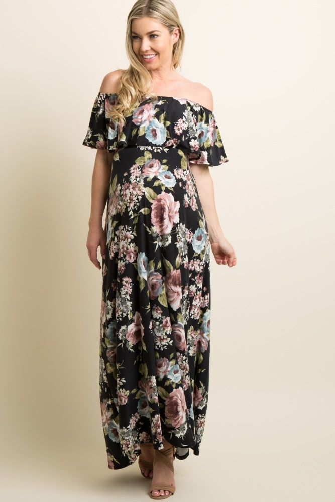 3638074980390 A floral print maternity maxi dress featuring a ruffle trim, and cinched  elastic off shoulder neckline and waistline. This style was created to be  worn ...