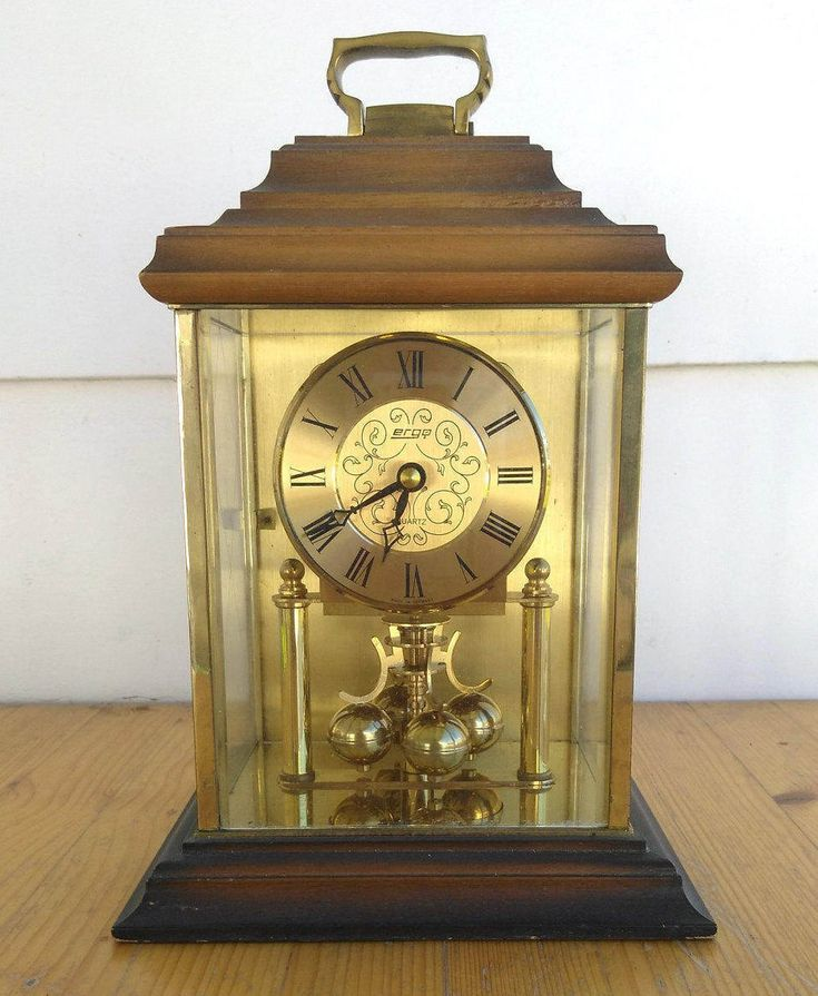 Vintage Haller Ergo Pendulum Mantel Clock Wood Brass German Clock 2 Jewel Clock, Mid Century Clock, Wooden Clock, WORKS PERFECTLY http://etsy.me/2twmxwf #housewares #clock #gold #housewarming #brown #living #ergoclocks #woodmantelclock #brassclock