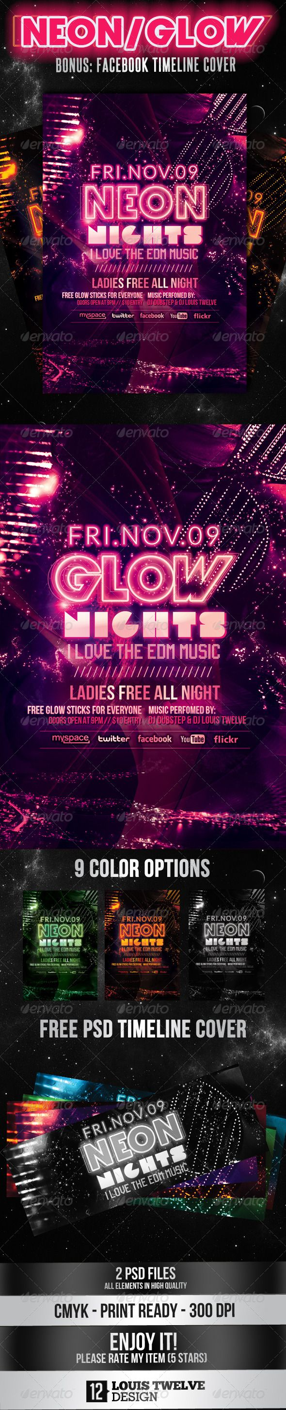 Neon Nights / Glow | Flyer + Facebook Cover - Clubs & Parties Events