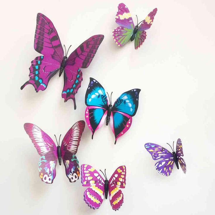 3D vlinders voor op de muur
