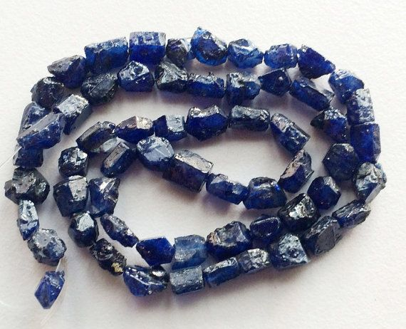 Blue Sapphire Rough Strand Sapphire Beads Rough by gemsforjewels