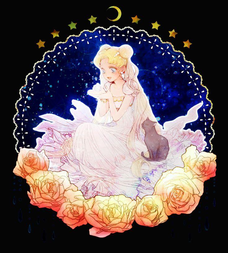 プリンセス・セレニティ (うさぎ) Princess Serenity (Usagi) and Luna - Sailor Moon fanart