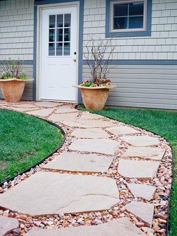 Paving-Stone PathGardens Ideas, Flagstone Walkways, Gardens Paths, Garden Paths, Outdoor, Mixed Materials, Landscapes, Paths Ideas, Backyards